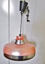 ancien lustre rond -vintage-1980-rose-alu chromé-