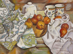 Original Painting Oil on Canvas Still Life with Pears
