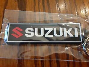 """Suzuki Motorcycle Keychain Key Chain black white GSXR 3"""" Rubber fob"""