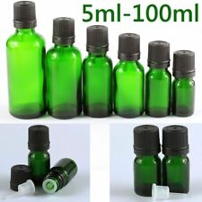 5ml - 100ml Green Glass Dropper Bottles with Boston Round Tamper Evident Cap
