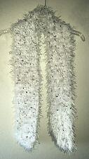 Warm Fuzzy Crochet Thick Scarf Muffler Possibly Handmade NO TAGS White Brn Spckl