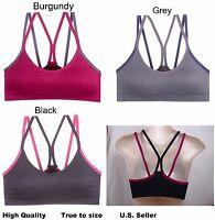Lot 3 New Womens SPORT Bras Fitness Yoga RACERBACK PADDED 34--44 D Cups #61014