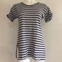 J.Crew Womens Tunic Top S Striped Gray T-Shirt Cuffed Short Sleeves Side Slit
