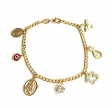 "GOLD FILLED CHARM EVIL EYE ,MONEY BRACELET GOOD LUCK 7.5"" LONG PULSERA SUERTE"