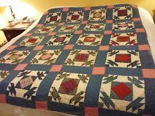 VINTAGE Cutter Quilt Indigo Blue, reds, cream turkey tracks variation pattern