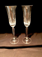 VINTAGE 2 FLUTED MIKASA INTERLUDE PATTERN CRYSTAL CHAMPAGNE FLUTE GLASSES 9 3/4""