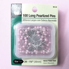 "Dritz Long Pearlized Pins, Size 24 - 1-1/2"" (38mm) Pink Ball Head Pins - 100 PK"