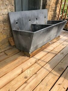 ANTIQUE OLD DOMINON SOAPSTONE DOUBLE BASIN SLANT FRONT SINK WITH CAST IRON LEGS
