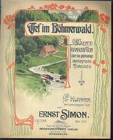 ERNST SIMON, Tief im Böhmerwald Walzer,  übergroße, alte Noten