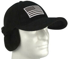 Black Polar Fleece Tactical Cap Hat w/ Earflaps and Removable Silver Patch