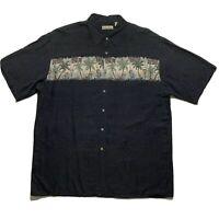 Hollis River Men's Shirt Hawaiian Palm Short Sleeve Button Up Shirt  Gray XL