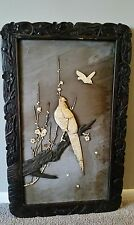 Antique 19 Century Japanese Shibayama Panel Carved Raised Relief Birds Flowers