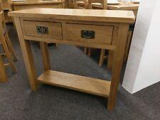 Baysdale Rustic Oak 2 Drawer Console Table 85cm 32cm 75cm