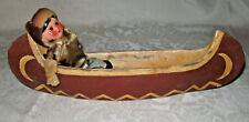 Vintage Eskimo or Native American Indian Trapper Canoe and Composition Doll