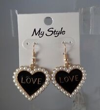 Heart Drop Earrings - Black Enamel Love Earrings - Love Heart Earrings Dangle