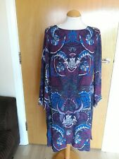 Ladies WHITE STUFF Dress Size 14 Blue Purple Tunic Smart Casual Day Party Event