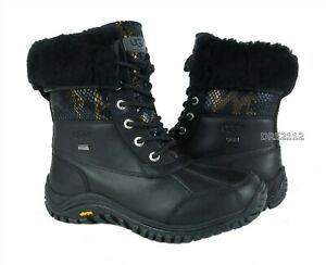 UGG Adirondack II Exotic Velvet Black Leather Fur Boots Womens Size 7 *NIB*