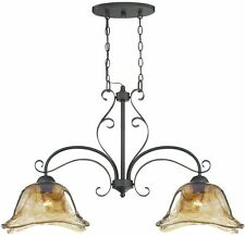 Unique Bronze Gold Art Glass Kitchen Island Chandelier Light French Country