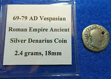 69-79 AD Vespasian Roman Empire Ancient Silver Denarius Coin, 2.4 grams, 18mm
