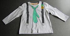 Baby Jungen LangarmShirt GR.86 Hosenträger Krawatten Aufdruck festlich NEU