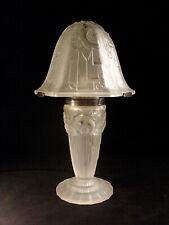 AUBIN OLLIER: LAMPE CHAMPIGNON ART DÉCO EN VERRE MOULÉ PRESSÉ ET FER FORGÉ 1930