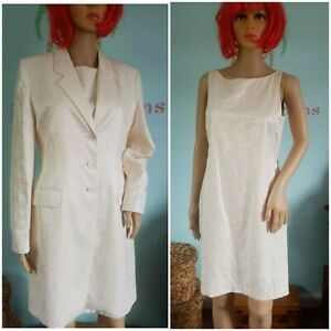 Ladies🌷 Richards Suit Dress & Coat Two Piece  Cream  Embroidered Wedding 10 /12