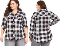 New 2X 18/20 Torrid Pink/Black/White Plaid Taylor Button Up Twill Camp Shirt Top