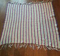 "Handmade Afghan Granny Crochet Blanket Throw Pink Purple Green White 50"" x 50"""