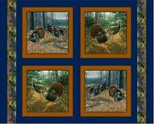 "35"" Digital Fabric Panel - Struttin' It Wild Turkey Forest Pillowcase Blocks"