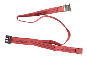 Salvatore Ferragamo Men's Red Canvas Leather Trimmed Belt