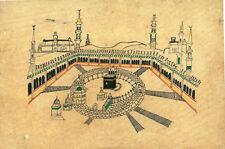VINTAGE HAND DRAWN WATERCOLOR ON PAPER SKETCH OF ISLAMIC MECCA KAABA HAJ PILGRIM