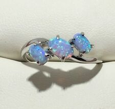 Beautiful 3 Stone Blue Fire Opal Solid 925 Sterling Silver Ring Sz 9