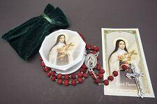 NEW! Saint Therese of Lisieux Rose Scented Rosary.Rosario de Santa Teresa Rosas