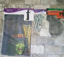 Halloween decorations witch, black cat, skeleton jointed cutouts