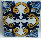 Portuguese old vintage reproduction 17 cm or 7 inches  yellow  blue CERAMIC TILE