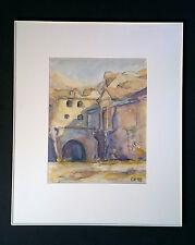 BELLO ORIGINALE acquerello: cortile italiano dorf. monogrammato gk92