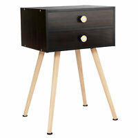 Mid Century Modern 2 Drawers Nightstand Sofa Side Table End Table Espresso