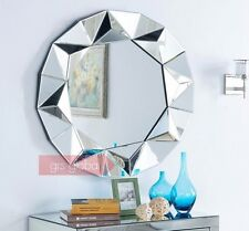 Large Modern Silver Round Venetian Wall Mirror Abstract Frame Style 3FT (90cm)