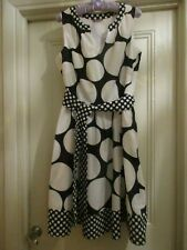 PER UNA NAVY & WHITE COTTON SPOT DRESS - SIZE 14