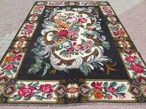 "Anatolia Kilim Rug, Floral Rug, Roses Design Rug, Carpet, Large Teppich 81""X115"""