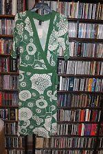 H&M H & M Green w White Daisy Print Wrap Knit Dress Ladies 10 NEW NWT   (bin97)