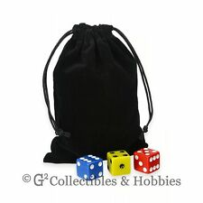 "NEW 4"" x 5.5"" Black Cloth Dice Bag RPG D&D Counter Pouch"