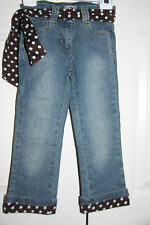 One Kid 4 EUC Girls Straight Leg Denim Jeans w/ Belt Polka Dot Cuff Pants 4T