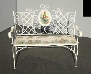 Vintage French Country White Wrought Iron Tiled Bench w Parrots Two Seater