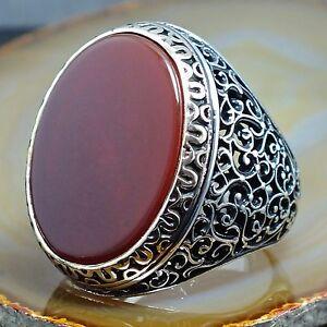 Mens Ring 925 Sterling Silver Carnelian Agate Aqeeq Turkish Craftmanship