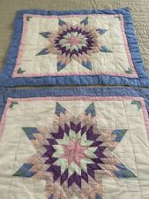 VINTAGE Hand Quilted Lone Star QUILT Shams Standard sz #524