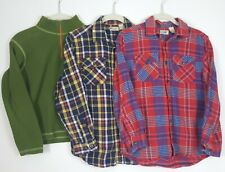 LL Bean Lot of 3 Boys Long Sleeve Button Shirt Flannel Fleece Size M 10 12