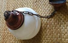 Antique 1930's SCHOOL HOUSE Ceiling Pendant Light Fixture COPPER Ringed Glass