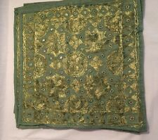 Green  Hand Embroidered Mirror Work Cotton Cushion Cover 16 X 16