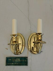 PAIR of Virginia Metalcrafters Colonial Williamsburg  Brass WALL SCONCES